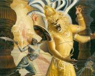 Нрисимха сражается с Хираньякашипу
