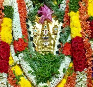 Камбада Йога Нарасимха Свами в праздничный день, одет в золотые доспехи и украшен бусами из Шри Шалаграм Шил.